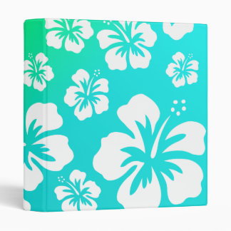 Hibiscus on Blue Green 3 Ring Binder