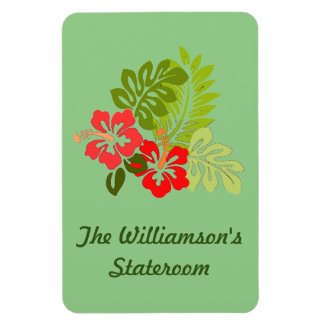 Hibiscus on Green Stateroom Door Marker Magnet