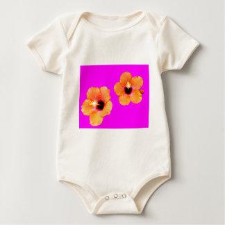 Hibiscus Orange Magenta bg The MUSEUM Zazzle Gifts Baby Bodysuit