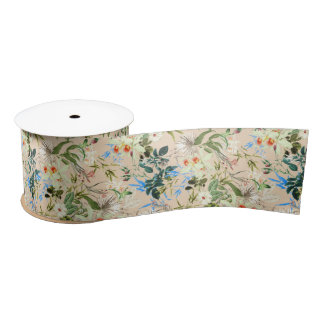 Hibiscus, Orchid, Rosebuds - White Blue Green Satin Ribbon