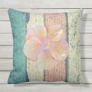 Hibiscus/ painted wood outdoor pillow