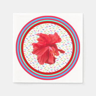Hibiscus party sprinkles and stripes paper napkins