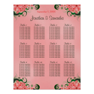 Hibiscus Pink DIY 12 Tables Wedding Seating Chart Poster