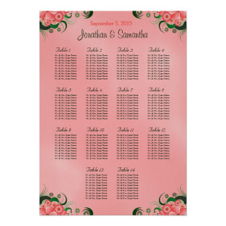 Hibiscus Pink DIY 14 Tables Wedding Seating Chart Poster