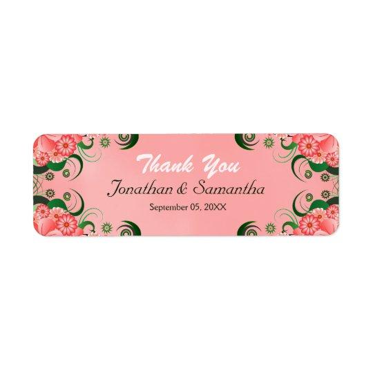 Hibiscus Pink Floral Wedding Favour Favour Labels