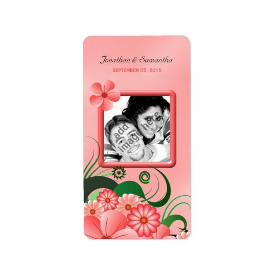 Hibiscus Pink Floral Wedding Photo Favour Labels