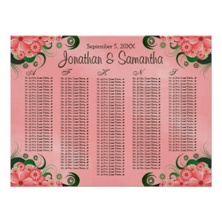 Hibiscus Pink Floral Wedding Table Seating Charts Poster