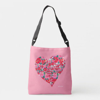 Hibiscus pink heart bag by Artist Joanne Short