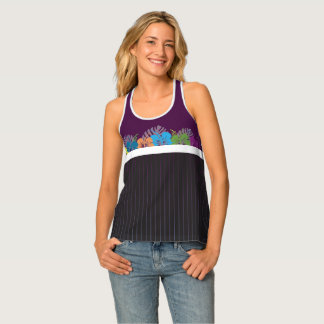 Hibiscus & Pinstripes Tank Top