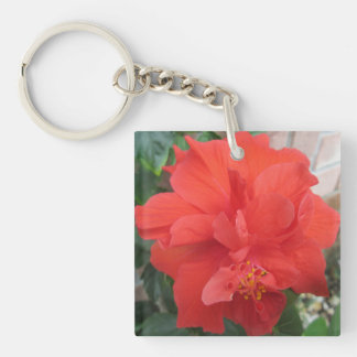 Hibiscus Plant Red Floral Double-Sided Square Acrylic Keychain