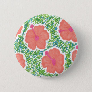 Hibiscus Pop Art Pattern 2 Inch Round Button