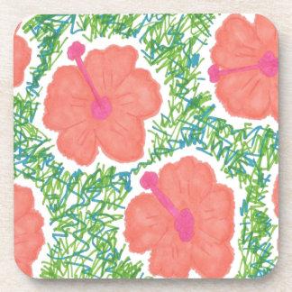 Hibiscus Pop Art Pattern Coaster