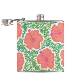 Hibiscus Pop Art Pattern Hip Flask