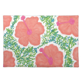 Hibiscus Pop Art Pattern Placemat