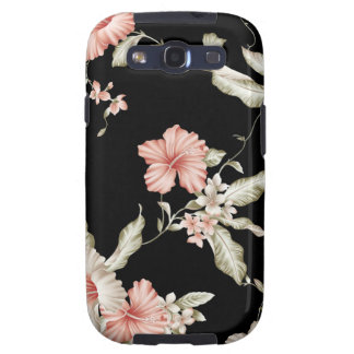 Hibiscus print in pink and black. samsung galaxy SIII cases