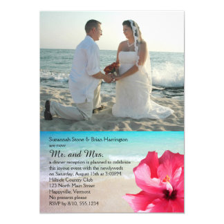 Hibiscus Private Wedding Reception Only Tropical Card