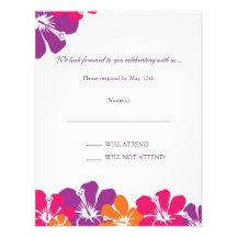 Hibiscus Rainbow RSVP Card Custom Invites
