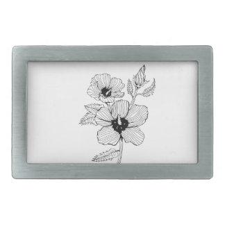 Hibiscus Rose of Sharon Flower Rectangular Belt Buckles