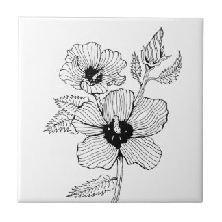 Hibiscus Rose of Sharon Flower Tile