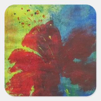 hibiscus square sticker