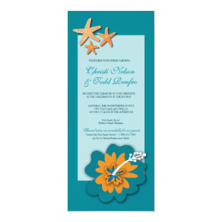 "Hibiscus Starfish Destination Island Wedding 4"" X 9.25"" Invitation Card"
