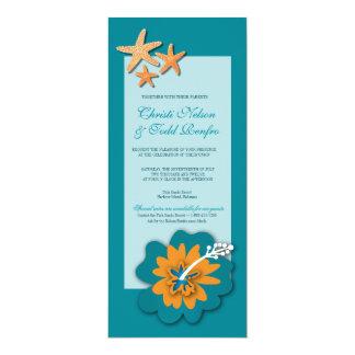 "Hibiscus Starfish Destination Island Wedding 4"" X 9.25"" Invitation Card"