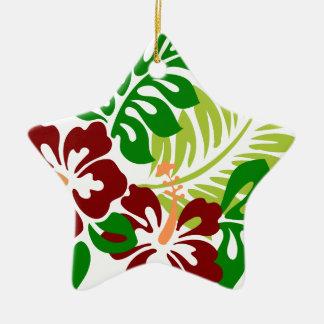 Hibiscus Tropical Flowers Ceramic Ornament