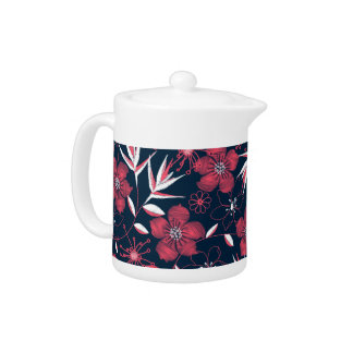 Hibiscus tropical printed embroidery