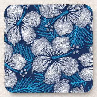 Hibiscus tropical printed embroidery coaster