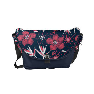 Hibiscus tropical printed embroidery commuter bag