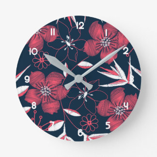 Hibiscus tropical printed embroidery round clock
