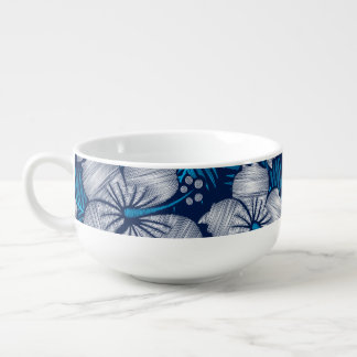 Hibiscus tropical printed embroidery soup mug