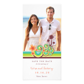 Hibiscus Tropical Waves Beach Save The Date Card Photo Card