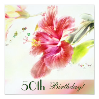 Hibiscus Watercolor 50th Birthday Party Invitation