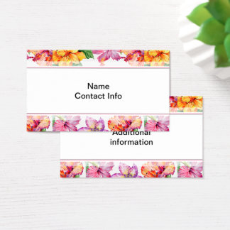 Hibiscus Watercolor Floral Business Card
