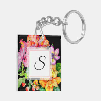 Hibiscus Watercolor Floral Keychain