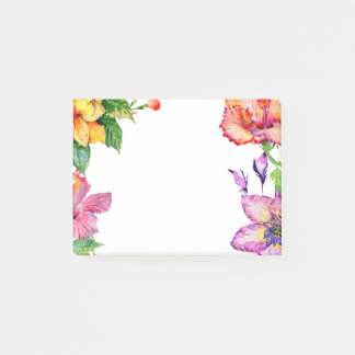 Hibiscus Watercolor Floral Post-it Notes