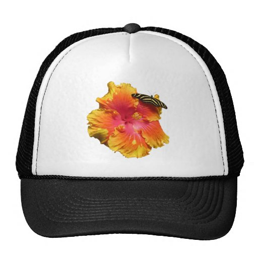 Hibiscus with Zebra Longwing Butterfly Trucker Hat