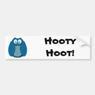 Hibou - bleu avec le pois autocollant de voiture