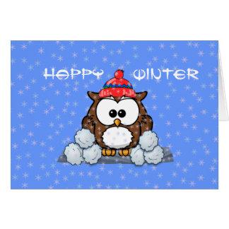 hibou d hiver carte de vœux