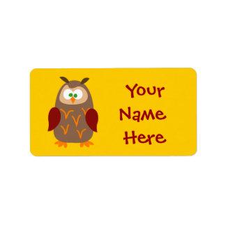 Hibou de camp d'enfants étiquette d'adresse