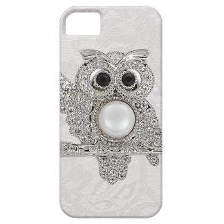 Hibou de diamants et IMAGE imprimée de dentelle de Coques iPhone 5 Case-Mate
