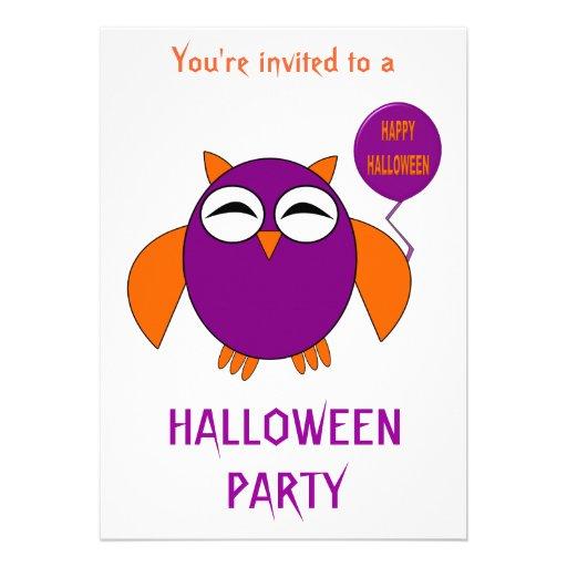 Hibou heureux de partie de Halloween personnalisab Faire-parts
