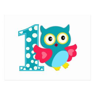 Hibou heureux de premier anniversaire carte postale