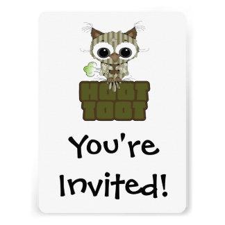 Hibou mignon de péter d appel drôle de huée invitations personnalisables