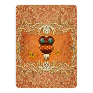 Hibou mignon de steampunk carton d'invitation  13,97 cm x 19,05 cm