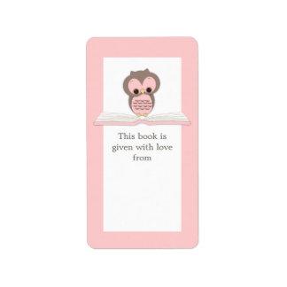 Hibou rose de bébé sur l'étiquette d'ex-libris de  étiquette d'adresse