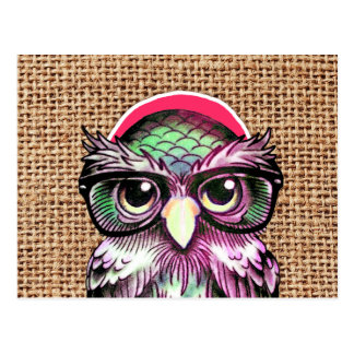 Hibou sage de tatouage coloré frais avec les verre cartes postales