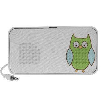 hibou texturisé vert et bleu haut-parleurs portables