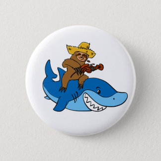Hick sloth mounted on shark 2 inch round button
